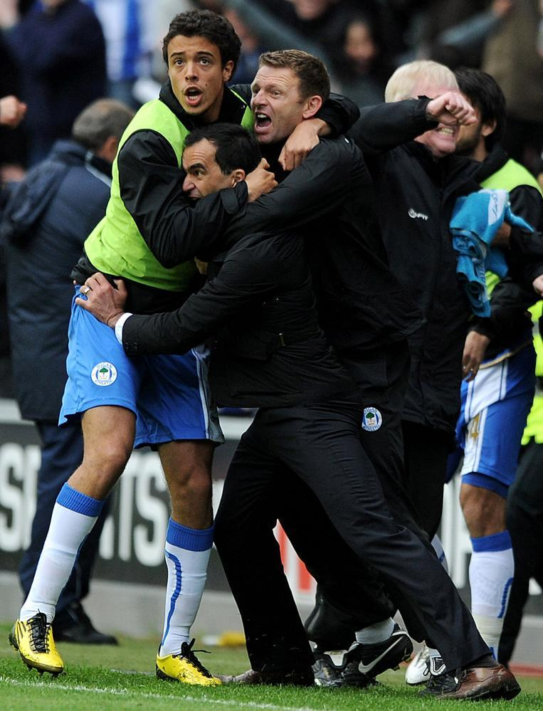 Joy for Roberto Martínez and Wigan as they send West Ham down in 2011, two seasons after that 9-0.