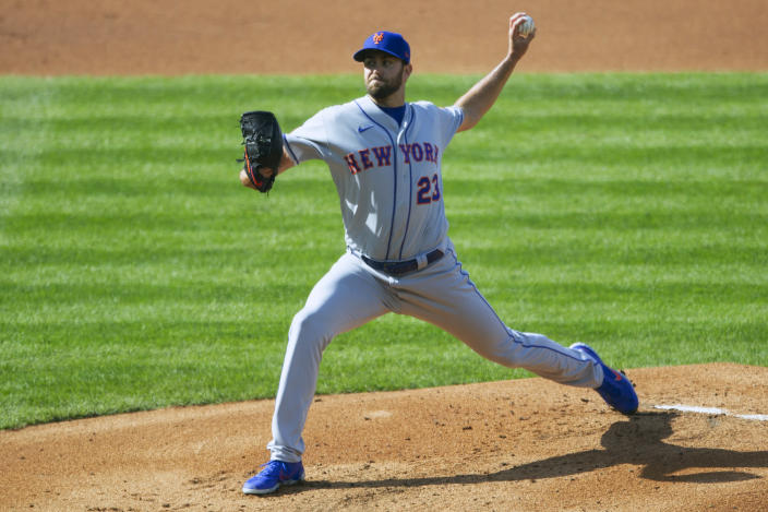 New York Mets starting pitcher David Peterson (23) throws during the first inning of a baseball game against the Philadelphia Phillies, Wednesday, April 7, 2021, in Philadelphia. (AP Photo/Laurence Kesterson)