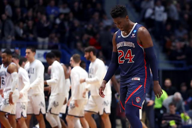 <p>Malik Fitts #24 of the Saint Mary's Gaels walks off the court after being defeated by the Villanova Wildcats during the first round of the 2019 NCAA Men's Basketball Tournament at XL Center on March 21, 2019 in Hartford, Connecticut. Villanova defeated Saint Mary's 61-57. (Maddie Meyer/Getty Images) </p>