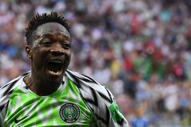Nigeria forward Ahmed Musa celebrates after scoring against Iceland in Volgograd (AFP Photo/Mark RALSTON)