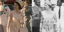 <p>Season 2 featured Queen Elizabeth's royal visit to Ghana in 1961. The trip was important for the monarch, as it was used to secure relations with the Commonwealth nation. The series stuck to Queen Elizabeth's scalloped lace sheath dress for the historic scene.</p>