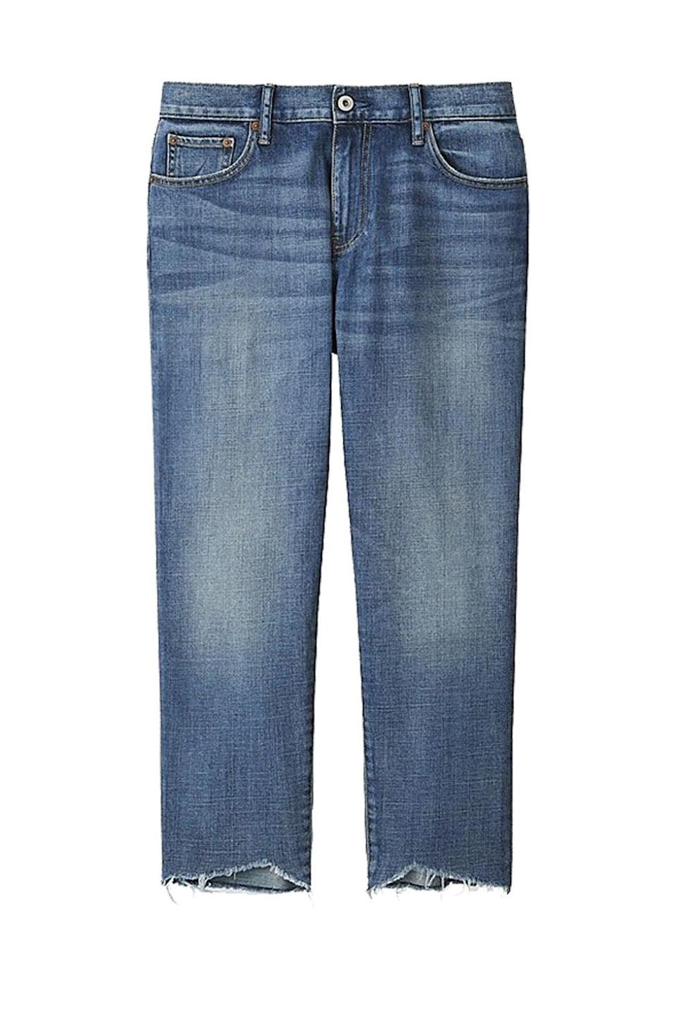"""<p>Laid flat, not particularly impressive. But on a person? The kind of perfect slouch you get stopped on the street for. </p><p><strong>BUY IT:</strong> Uniqlo, $30; <a href=""""https://www.uniqlo.com/us/en/women-slim-boyfriend-fit-ankle-jeans-193933.html?dwvar_193933_color=COL63&cgid="""" rel=""""nofollow noopener"""" target=""""_blank"""" data-ylk=""""slk:uniqlo.com"""" class=""""link rapid-noclick-resp"""">uniqlo.com</a>.</p>"""