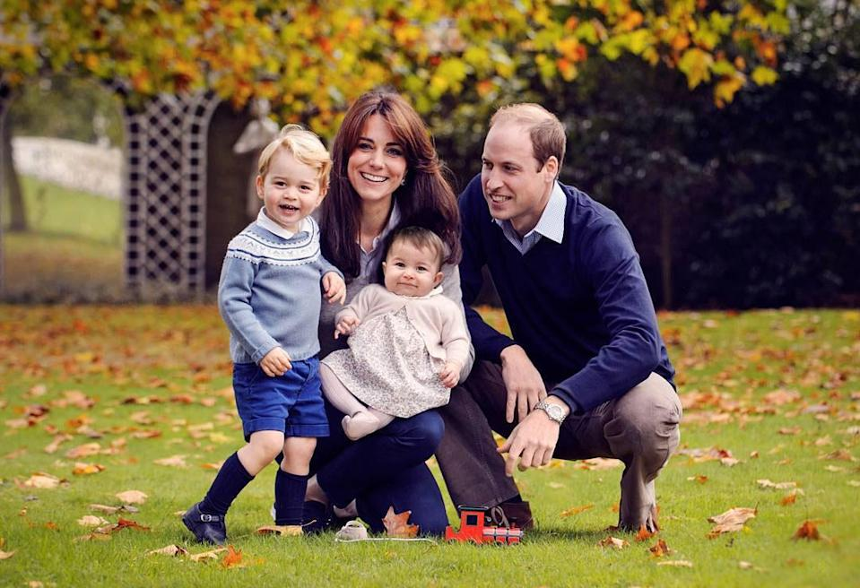 <p>The royals look picture perfect in this family photo. George is rocking his signature sweater, shorts and knee-high socks for the camera. [Photo: Kensington Palace] </p>