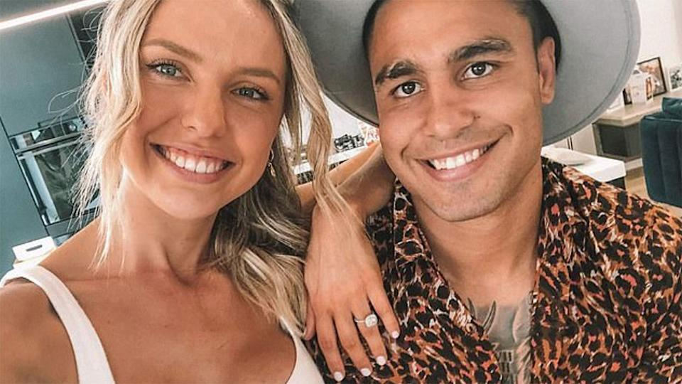 Pictured here, Michael Lichaa and fiancee Kara Childerhouse pose for a photo together.