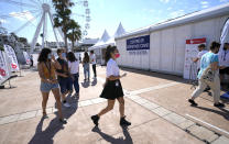 A festival coronavirus testing center is seen at the 74th international film festival, Cannes, southern France, Tuesday, July 6, 2021. (AP Photo/Vadim Ghirda)