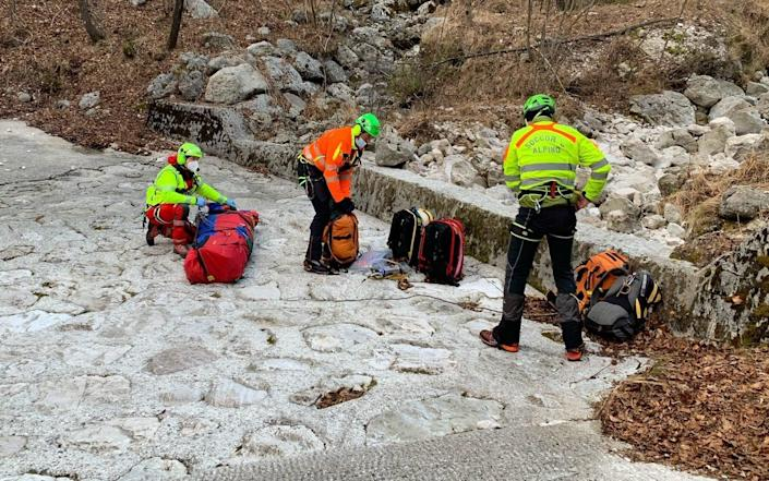 Michele Benedet, 33, was found bruised and battered but alive by mountain rescue specialists in northern Italy - Social media