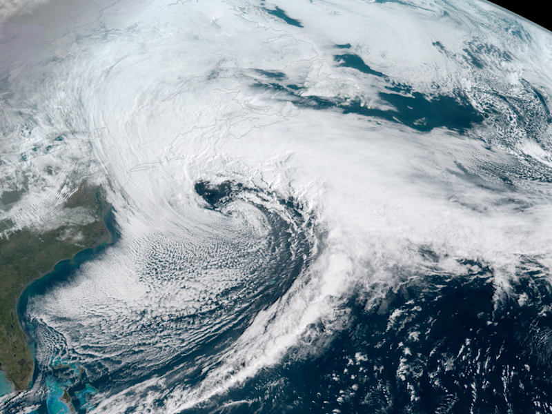 Satellite captures storm over the East Coast on Tuesday (NOAA National Environmental Satellite, Data, and Information Service (NESDIS))