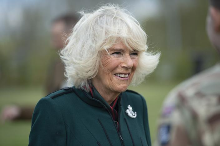 The Duchess of Cornwall during her first visit to 5th Battalion The Rifles, following her new appointment as Colonel-in-Chief, at Bulford Station in Wiltshire. Picture date: Friday May 7, 2021.