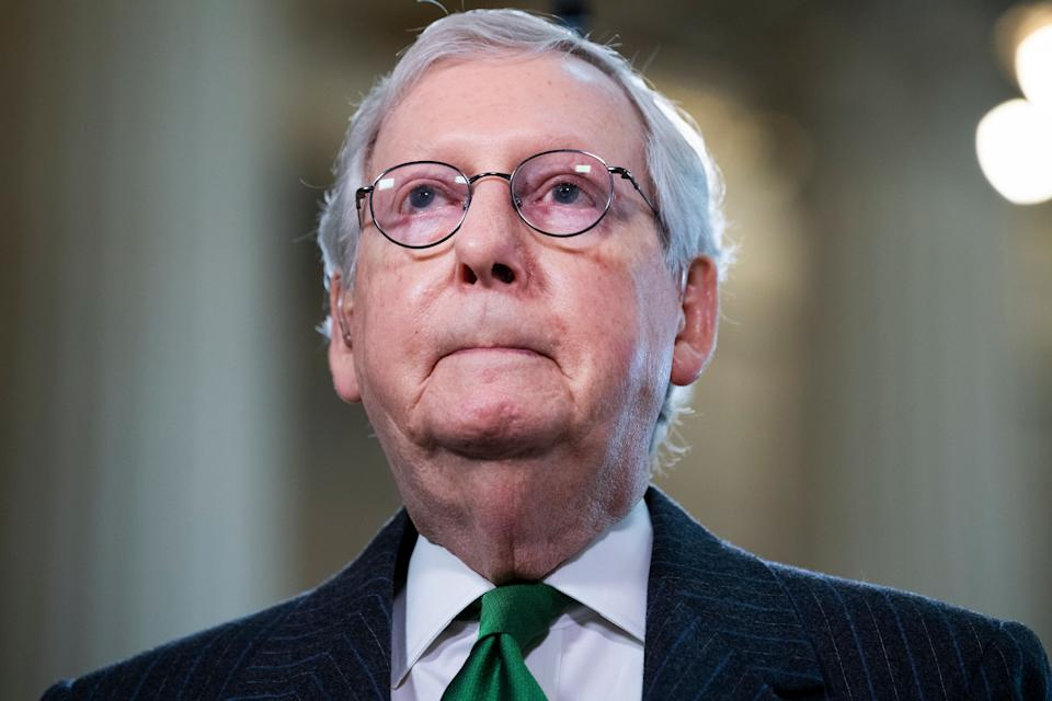 """Senate Minority Leader Mitch McConnell (R-Ky.), seen on March 17, was reportedly called a """"dumb son of a bitch"""" by Trump. (Photo: Tom Williams via Getty Images)"""