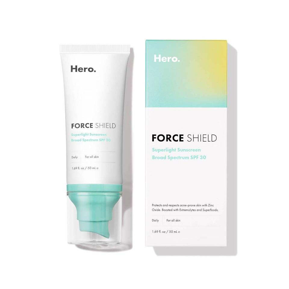 <p>There's a misconception that sunscreen makes you break out, when in reality, you just need to find the right formula. The <span>Hero Cosmetics Shield Superlight Broad Spectrum Sunscreen SPF 30</span> ($24) is designed with acne-prone skin types in mind with its lightweight, noncomedogenic formula.</p>