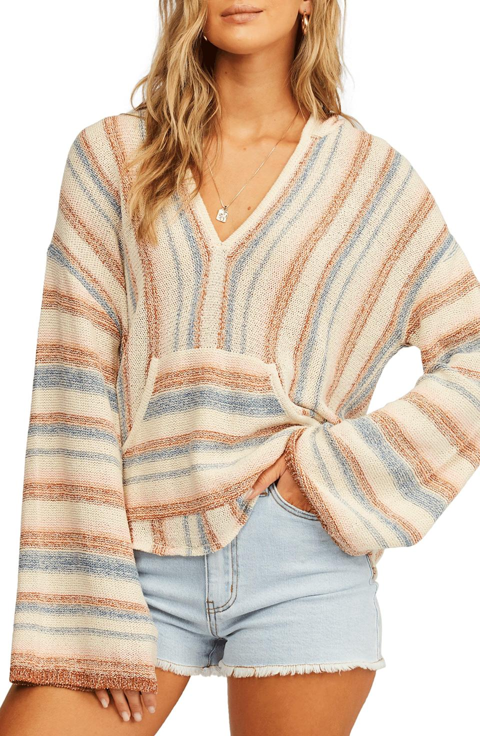 """<p><strong>Billabong</strong></p><p>nordstrom.com</p><p><strong>$65.95</strong></p><p><a href=""""https://go.redirectingat.com?id=74968X1596630&url=https%3A%2F%2Fwww.nordstrom.com%2Fs%2Fbillabong-baja-beach-stripe-hoodie%2F5891568&sref=https%3A%2F%2Fwww.womenshealthmag.com%2Flife%2Fg37511825%2Fbest-fall-sweaters%2F"""" rel=""""nofollow noopener"""" target=""""_blank"""" data-ylk=""""slk:Shop Now"""" class=""""link rapid-noclick-resp"""">Shop Now</a></p><p>Whether you're actually wearing this over your bathing suit at the beach or are pairing it with jeans, riding boots, and tropical daydreams, this cozy hoodie is the perfect transitional piece. </p><p>It's lightweight enough for warmer temps, but cozy enough to cuddle up in on a cool fall evening.</p>"""