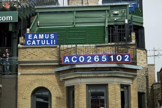 The famous Eamus Catuli sign pictured in 2010, which denotes the years since a Cubs division championship, World Series appearance and World Series championship. (Cubs)