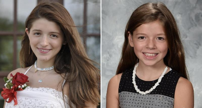Cleveland Heights sisters Scout, 14, and Chasey Scaravilli, 12, were struck by bricks while lying in a hammock. The girls are pictured here.
