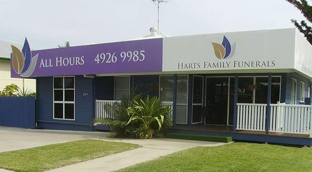 The Rockhampton funeral home is being accused of switching a grandmother's $1700 coffin with a cheap pine box between the funeral and the cremation. Source: Harts Family Funerals