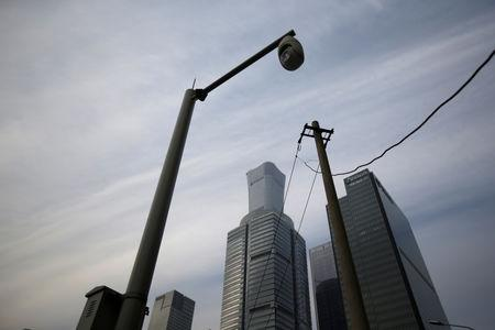 A pole stands in Beijing's central business area