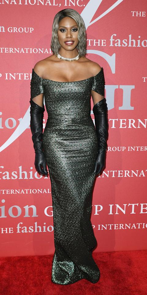 <p>The actress sparkled and shined at the FGI Night Of Stars Gala, showing off a metallic Zac Posen gown, Garo Sparo gloves, and a Fred Leighton choker.</p>