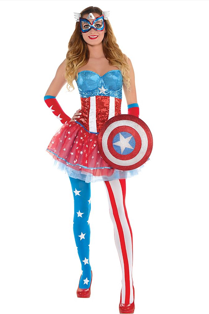 """<p>Tony Stark's wholesome buddy (and sometimes adversary) Captain America would probably blush seeing <a href=""""http://www.partycity.com/product/adult+american+dream+costume+premier+web+kit.do?sortby=ourPicks&navSet=110777"""" rel=""""nofollow noopener"""" target=""""_blank"""" data-ylk=""""slk:this trashy take"""" class=""""link rapid-noclick-resp"""">this trashy take </a>on his gear. Also is that a shield or a clutch purse?<br>(Photo: Partycity.com) </p>"""