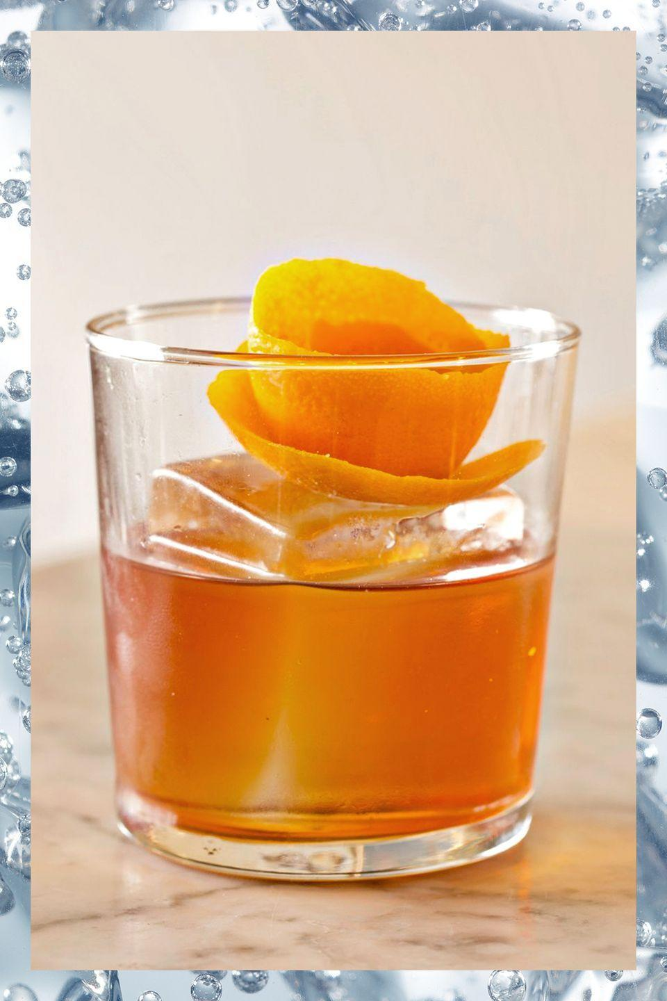 """<p>There may be no better test of a bartender's mettle than ordering an Old Fashioned. The recipe is simple:</p><p>- 2 oz bourbon or rye whiskey<br>- 2 dashes Angostura bitters<br>- 1 sugar cube or 1 tsp sugar<br>- Orange twist garnish</p><p><em>Put sugar in glass. Cover it with dashes of bitters. Add whiskey and stir until sugar dissolves. Add ice, stir again, and serve. If the barman starts shaking the ingredients or muddling fruit, have your next round at another bar. </em></p><p><strong>More:</strong> <a href=""""https://www.townandcountrymag.com/leisure/drinks/g1178/old-fashioned-variation-cocktail-recipes/"""" rel=""""nofollow noopener"""" target=""""_blank"""" data-ylk=""""slk:New Takes on the Old Fashioned Drink"""" class=""""link rapid-noclick-resp"""">New Takes on the Old Fashioned Drink</a></p>"""