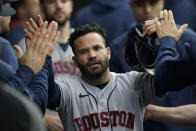 Houston Astros' Jose Altuve celebrates scoring against the Chicago White Sox in the eighth inning during Game 4 of a baseball American League Division Series Tuesday, Oct. 12, 2021, in Chicago. (AP Photo/Nam Y. Huh)