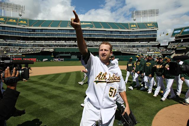 Dallas Braden celebrates his 2010 perfect game. He admits now he was hungover during the game. (Photo by Brad Mangin/MLB via Getty Images)