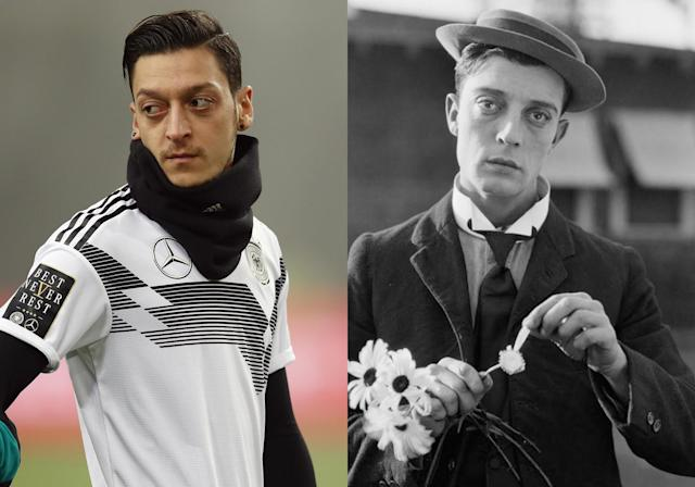 <p>German midfielder Mesut Ozil and a young Buster Keaton </p>