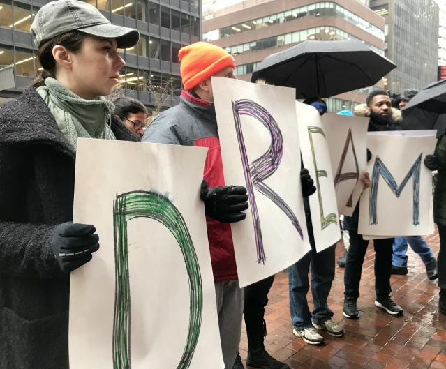 Immigration advocates outside the office of Sen. Chuck Schumer, D-N.Y., Jan. 17, 2018. (Photo: Caitlin Dickson/Yahoo News)