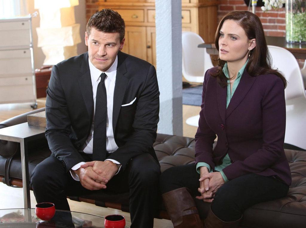"Brennan (Emily Deschanel) and Booth (David Boreanaz) interview a couple on the brink of divorce who recently reconciled in ""The Partners in the Divorce"" episode of ""Bones."""