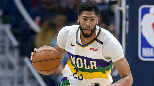 """<a class=""""link rapid-noclick-resp"""" href=""""/nba/players/5007/"""" data-ylk=""""slk:Anthony Davis"""">Anthony Davis</a> will sit Saturday night against the <a class=""""link rapid-noclick-resp"""" href=""""/nba/teams/la-lakers/"""" data-ylk=""""slk:Los Angeles Lakers"""">Los Angeles Lakers</a>. Photo courtesy of <span>NBC Sports Boston.</span>"""