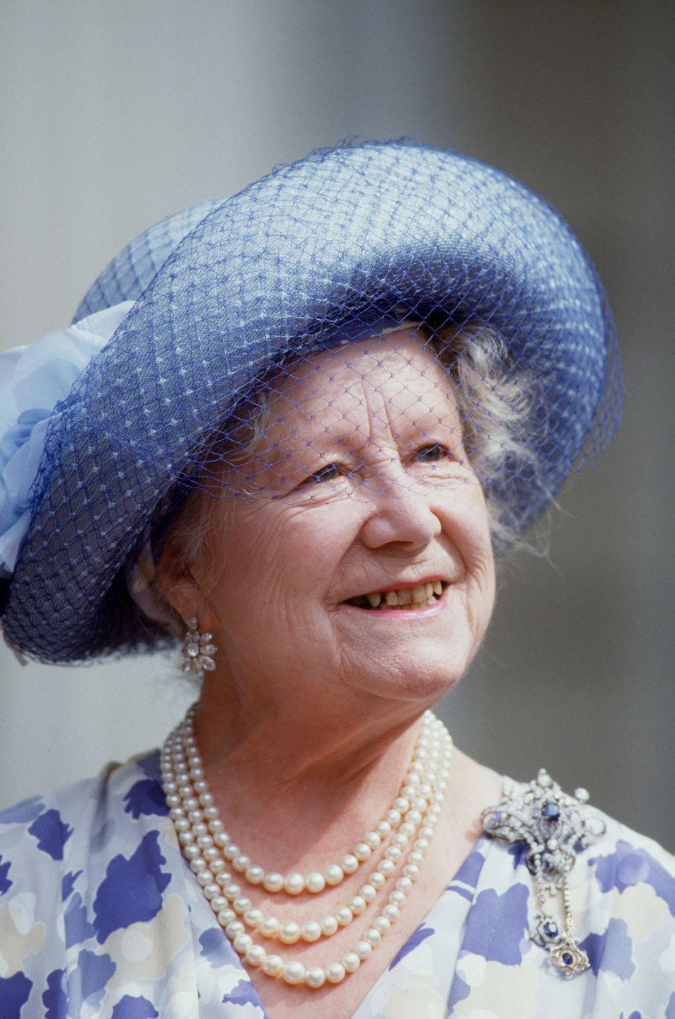 <p>The Queen Mother's brooch collection was legendary. For her 88th birthday celebration at Clarence House in 1988, she wore this diamond and sapphire brooch. </p>
