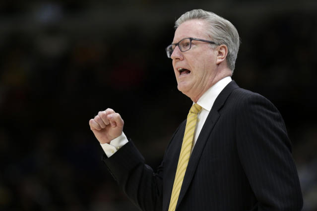 Iowa head coach Fran McCaffery directs his team during the first half of an NCAA college basketball game against Michigan in the quarterfinals of the Big Ten Conference tournament, Friday, March 15, 2019, in Chicago. (AP Photo/Kiichiro Sato)