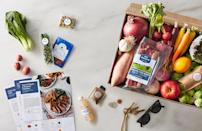 """<p>As one of the better-known meal kit delivery services, Blue Apron's meal kits start at $47.95. That price includes shipping and two recipes per week, and each recipe serves two people. But the service also has kits that come with three or four recipes per week and has a meal kit option that can serve a family of four.</p> <p>If you're someone who has specific dietary needs, Blue Apron offers vegetarian, pescatarian, diabetes-friendly and Weight Watchers-approved meals. But keep in mind that you choose from a selection of about 10 recipes per week, so there might only be one or two dietary specific options on the menu at a time. It's also important to note that the vegetarian options can only serve two people, not four.</p> <p><a href=""""https://www.thedailymeal.com/cook/blue-apron-meal-kit?referrer=yahoo&category=beauty_food&include_utm=1&utm_medium=referral&utm_source=yahoo&utm_campaign=feed"""" rel=""""nofollow noopener"""" target=""""_blank"""" data-ylk=""""slk:For the full Blue Apron review, click here."""" class=""""link rapid-noclick-resp"""">For the full Blue Apron review, click here.</a></p>"""