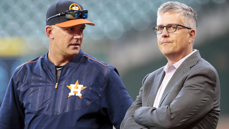 AJ Hinch and Jeff Luhnow, pictured here speaking in 2017.