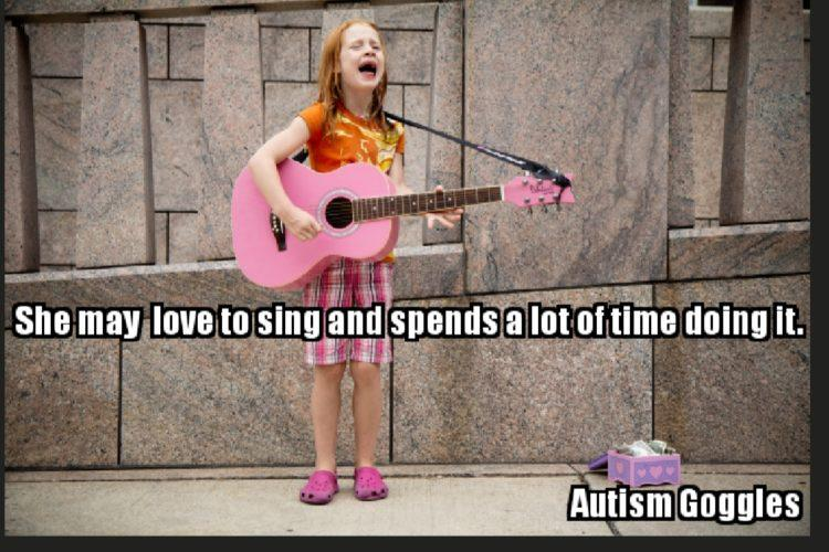 SHE MAY LOVE TO SING AND SPENDS A LOT OF TIME DOING IT
