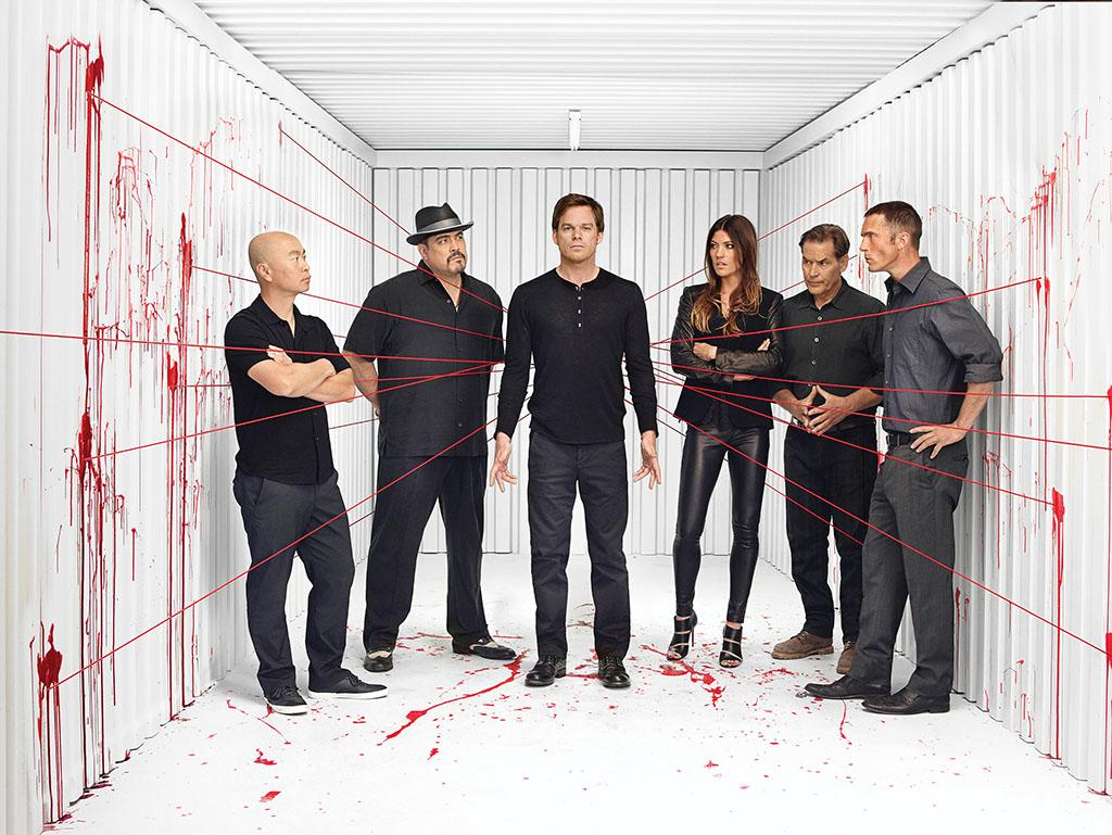 "C.S. Lee as Vince Masuka, David Zayas as Angel Batista , Michael C. Hall as Dexter Morgan, Jennifer Carpenter as Debra Morgan, James Remar as Harry Morgan and Desmond Harrington as Joey Quinn in Season 8 of Showtime's ""Dexter."""