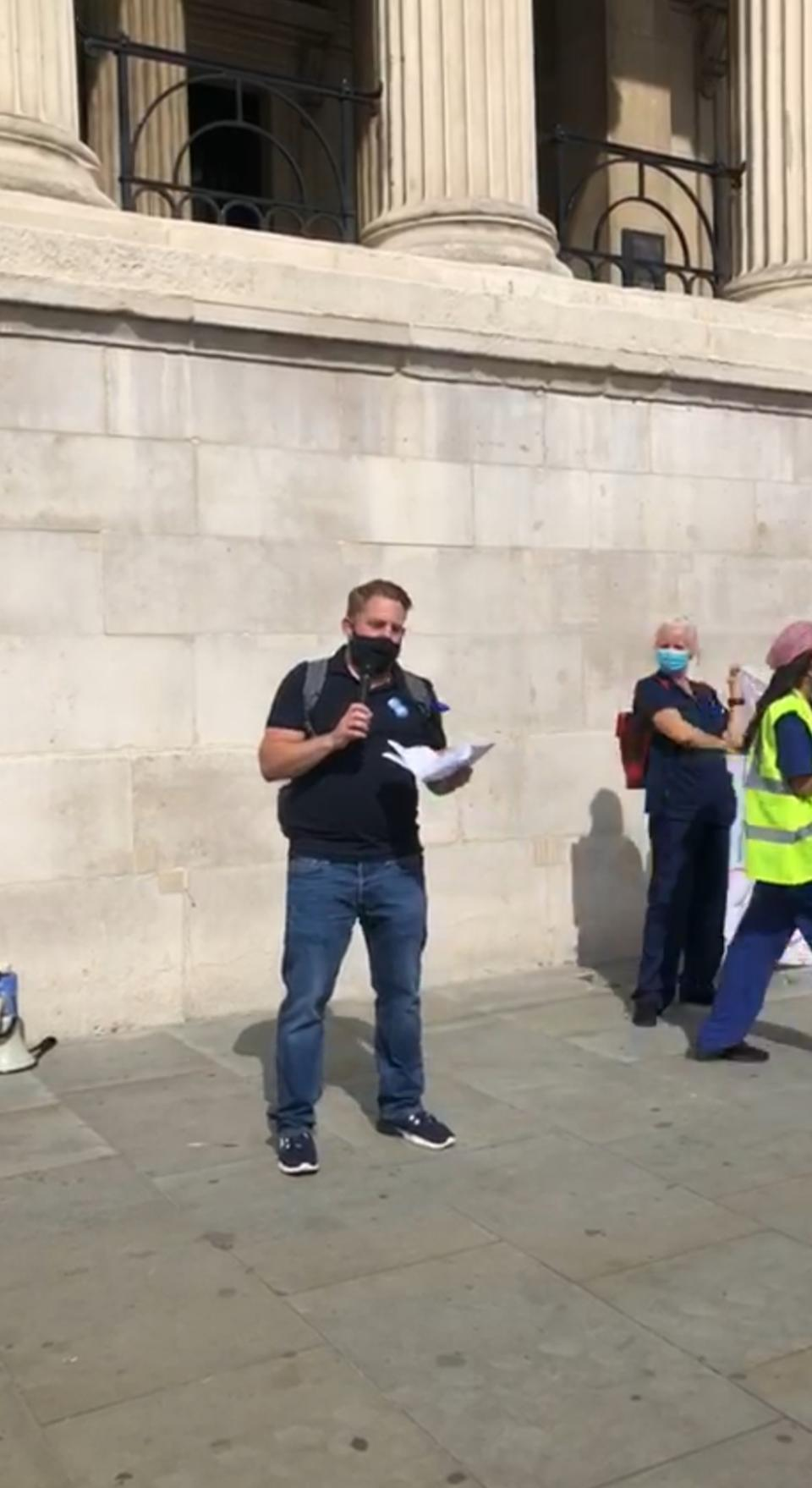Matt Smith at NHS pay and conditions protest