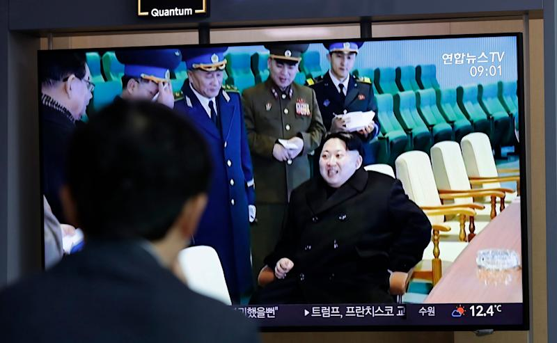 "A man watches a TV news program reporting about North Korea's test-fire of a ""new-type tactical guided weapon,"" with a footage of North Korean leader Kim Jong Un, at the Seoul Railway Station in Seoul, South Korea, Thursday, April 18, 2019. North Korea has test-fired a ""new-type tactical guided weapon,"" its state media announced Thursday, in a possible attempt to register displeasure with currently deadlocked nuclear talks with the United States without causing those coveted negotiations to collapse. (AP Photo/Lee Jin-man)"