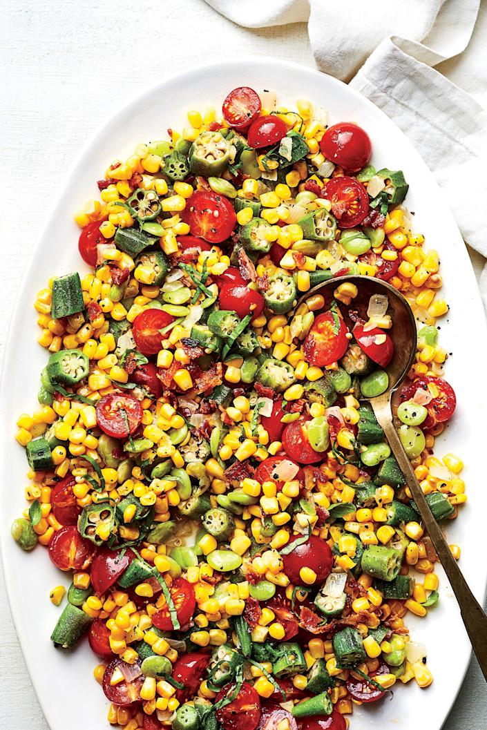 "<p><b>Recipe: </b><a href=""https://www.southernliving.com/recipes/best-ever-succotash-recipe"" rel=""nofollow noopener"" target=""_blank"" data-ylk=""slk:Best-Ever Succotash"" class=""link rapid-noclick-resp""><b>Best-Ever Succotash</b></a> </p> <p> It may be a bold claim, but we're willing to say that this succotash is simply the best ever. With a colorful confetti of corn, tomato, and okra, this dish is a staple at all our summer cookouts.</p>"