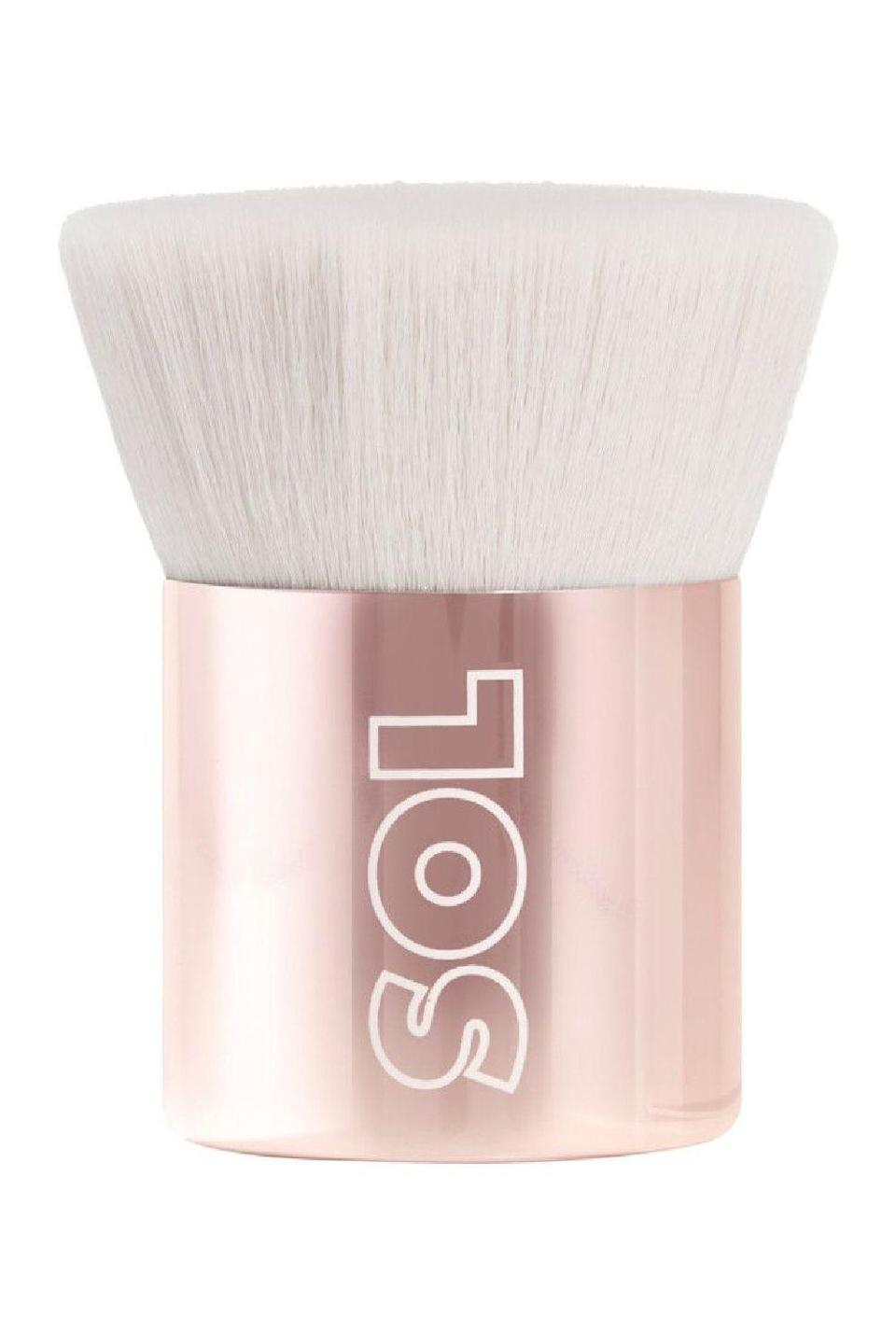 """<p><strong>SOL Body</strong></p><p>ulta.com</p><p><strong>$12.00</strong></p><p><a href=""""https://go.redirectingat.com?id=74968X1596630&url=https%3A%2F%2Fwww.ulta.com%2Fbody-kabuki-brush%3FproductId%3Dpimprod2013092&sref=https%3A%2F%2Fwww.cosmopolitan.com%2Fstyle-beauty%2Fbeauty%2Fg34552138%2Fbest-kabuki-brushes%2F"""" rel=""""nofollow noopener"""" target=""""_blank"""" data-ylk=""""slk:Shop Now"""" class=""""link rapid-noclick-resp"""">Shop Now</a></p><p>A kabuki brush doesn't <em>always</em> have rounded, dome-shaped bristles, and it also doesn't have to be used for face products. <strong>Use this body kabuki brush with firm, flat, bristles (also vegan, btw) to buff, swirl, and stipple creamy <a href=""""https://go.redirectingat.com?id=74968X1596630&url=https%3A%2F%2Fwww.nordstrom.com%2Fs%2Fvita-liberata-body-blur-instant-hd-skin-finish%2F4336394&sref=https%3A%2F%2Fwww.cosmopolitan.com%2Fstyle-beauty%2Fbeauty%2Fg34552138%2Fbest-kabuki-brushes%2F"""" rel=""""nofollow noopener"""" target=""""_blank"""" data-ylk=""""slk:body makeup"""" class=""""link rapid-noclick-resp"""">body makeup</a></strong>, shimmery <a href=""""https://www.cosmopolitan.com/style-beauty/beauty/g25588784/best-body-oils/"""" rel=""""nofollow noopener"""" target=""""_blank"""" data-ylk=""""slk:body oils"""" class=""""link rapid-noclick-resp"""">body oils</a>, or <a href=""""https://www.cosmopolitan.com/style-beauty/beauty/g28966753/liquid-highlighter-makeup/"""" rel=""""nofollow noopener"""" target=""""_blank"""" data-ylk=""""slk:liquid highlighters"""" class=""""link rapid-noclick-resp"""">liquid highlighters</a>.</p>"""