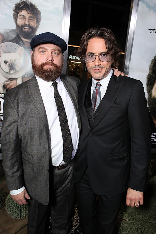 """<a href=""""http://movies.yahoo.com/movie/contributor/1805534781"""">Zach Galifianakis</a> and <a href=""""http://movies.yahoo.com/movie/contributor/1800010914"""">Robert Downey Jr.</a> attend the Los Angeles premiere of <a href=""""http://movies.yahoo.com/movie/1810116445/info"""">Due Date</a> on October 28, 2010."""
