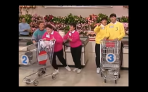 """<p>When it comes time for the Big Sweep, the <a href=""""https://gameshows.fandom.com/wiki/Supermarket_Sweep"""" rel=""""nofollow noopener"""" target=""""_blank"""" data-ylk=""""slk:clock is set to the highest time earned by the teams"""" class=""""link rapid-noclick-resp"""">clock is set to the highest time earned by the teams</a>. The team with the most time in the aisles begins first, with each subsequent team joining them when it reaches their time earned in the trivia round.</p>"""