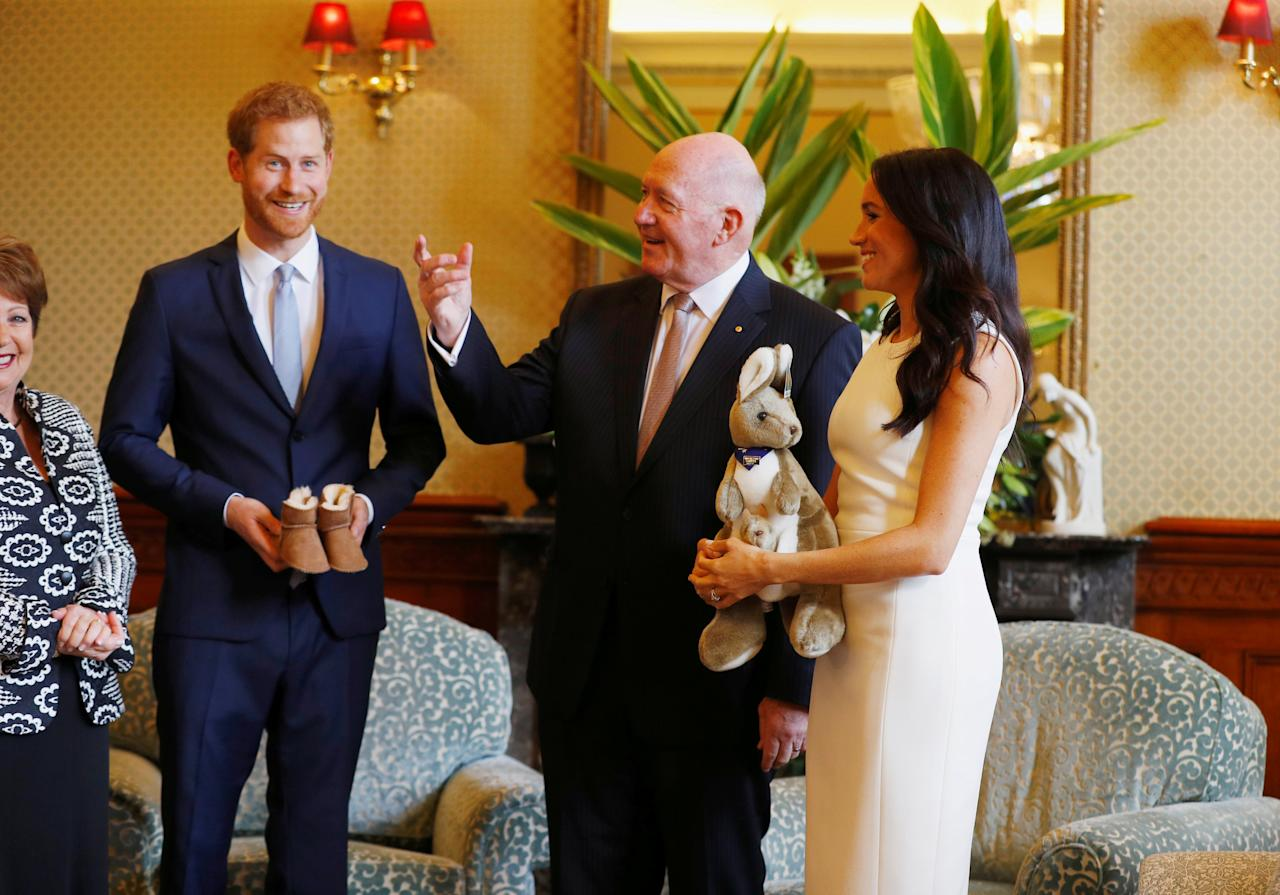 Britain's Prince Harry and wife Meghan, Duchess of Sussex are welcomed by Australia's Governor General Peter Cosgrove and his wife Lynne Cosgrove at Admiralty House during their visit in Sydney, Australia October 16, 2018. REUTERS/Phil Noble/Pool     TPX IMAGES OF THE DAY