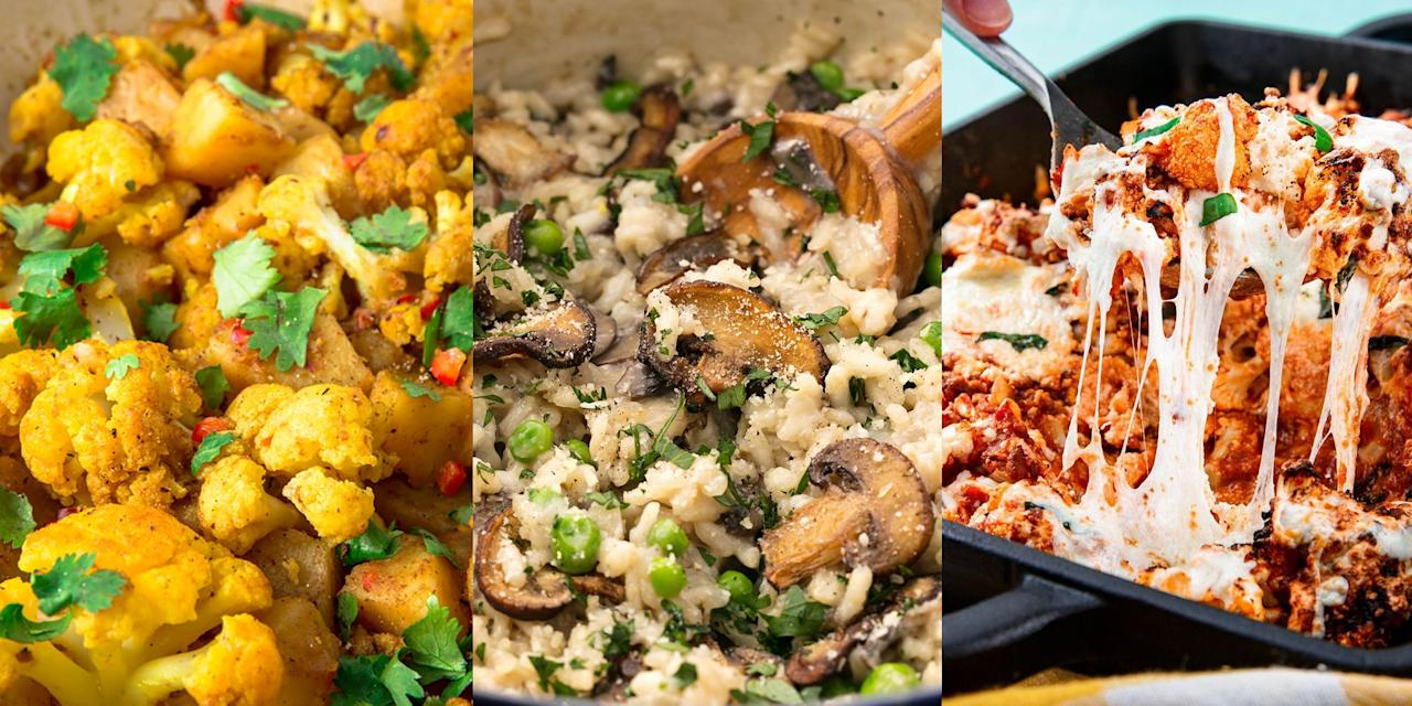 "<p>Eating vegetarian doesn't have to mean boring, flavourless meals. Using delicious-tasting vegetables like <a href=""https://www.delish.com/uk/cooking/recipes/g33008494/broccoli-recipes/"" target=""_blank"">broccoli</a>, <a href=""https://www.delish.com/uk/cooking/recipes/g30687448/cauliflower-recipes/"" target=""_blank"">cauliflower </a>and <a href=""https://www.delish.com/uk/cooking/recipes/g32433766/asparagus-recipes/"" target=""_blank"">asparagus</a> can make dinner time something you look forward to. Plus, they're super easy to prepare and can near enough replace most meat dishes. Whether it's a <a href=""https://www.delish.com/uk/cooking/recipes/a30241037/butternut-squash-risotto-parmesan-recipe/"" target=""_blank"">Butternut Squash Risotto</a>, <a href=""https://www.delish.com/uk/cooking/recipes/a31182680/cauliflower-baked-ziti-recipe/"" target=""_blank"">Cauliflower Baked Ziti</a> or <a href=""https://www.delish.com/uk/cooking/recipes/a28784587/vegetarian-kale-soup/"" target=""_blank"">Vegetarian Kale Soup</a>, there's plenty of easy vegetarian recipes for you to try.  </p>"