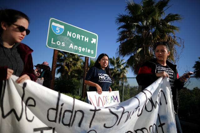 DACA recipient Barbara Hernandez (C), 26, participates in a protest for a clean Dream Act, in Anaheim, California, U.S., January 22, 2018. REUTERS/Lucy Nicholson