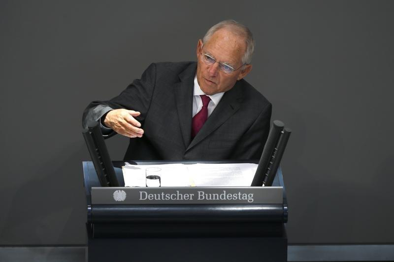 German Finance Minister Wolfgang Schaeublegestures as he gives a speech for a budget debate at the German national parliament in Berlin
