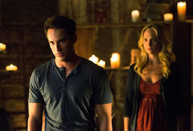 "Michael Trevino as Tyler/Klaus and Candice Accola as Caroline in ""Growing Pains,"" the Season 4 premiere episode of ""The Vampire Diaries."""