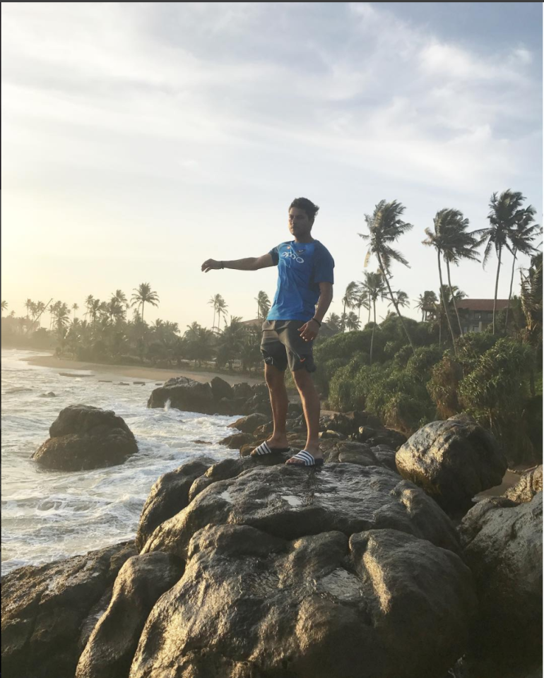 """<p>""""A quiet evening by the sea side, just by myself. #natureatitsbest"""" – Kuldeep Yadav </p>"""