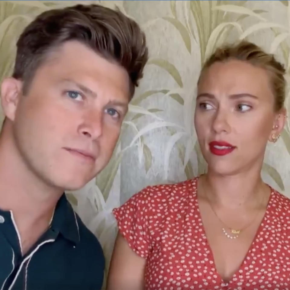 Colin Jost and Scarlett Johansson from