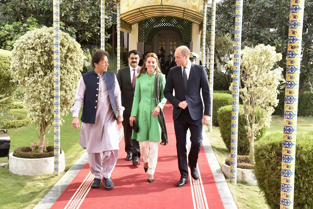 "The royal couple met with Pakistan Prime Minister Imran Khan (a good friend of Princess Diana's) on Tuesday at his home in the Bani Gala neighborhood of Islamabad. Last fall, it was reported that the sprawling residence will be converted into a postgraduate institute. At the time, Education Minister Shaft Mehmood told the media that the decision was made in response to the public's annoyance at the government's ""royal"" way of living—though this past summer, Khan opened up the lavish dwelling for a wedding."