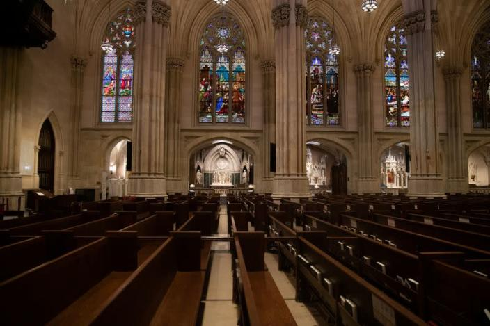Empty seats are seen during an Easter service at St. Patrick's Cathedral as the outbreak of the coronavirus disease (COVID-19) continues in the Manhattan borough of New York City