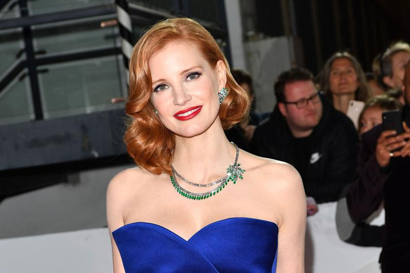 425bbac5231f Jessica Chastain Wears the Leggiest Gown With Soaring Sandals at the Golden  Camera Awards